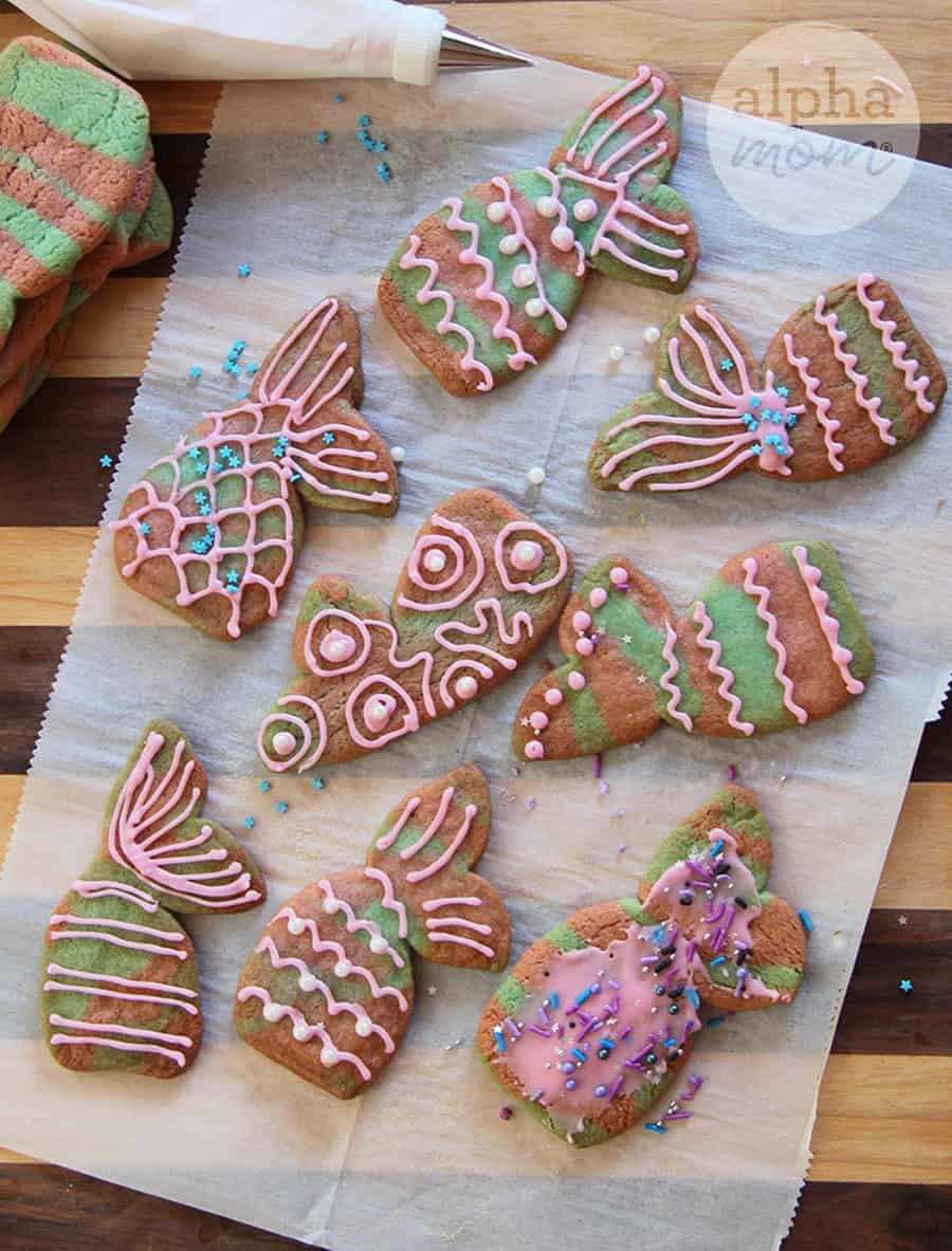 Mermaid Icebox Cookies Recipe (decorating) by Brenda Ponnay for Alphamom.com