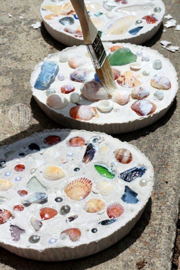Sea Shell Mosaics Stones by Brenda Ponnay for Alphamom.com