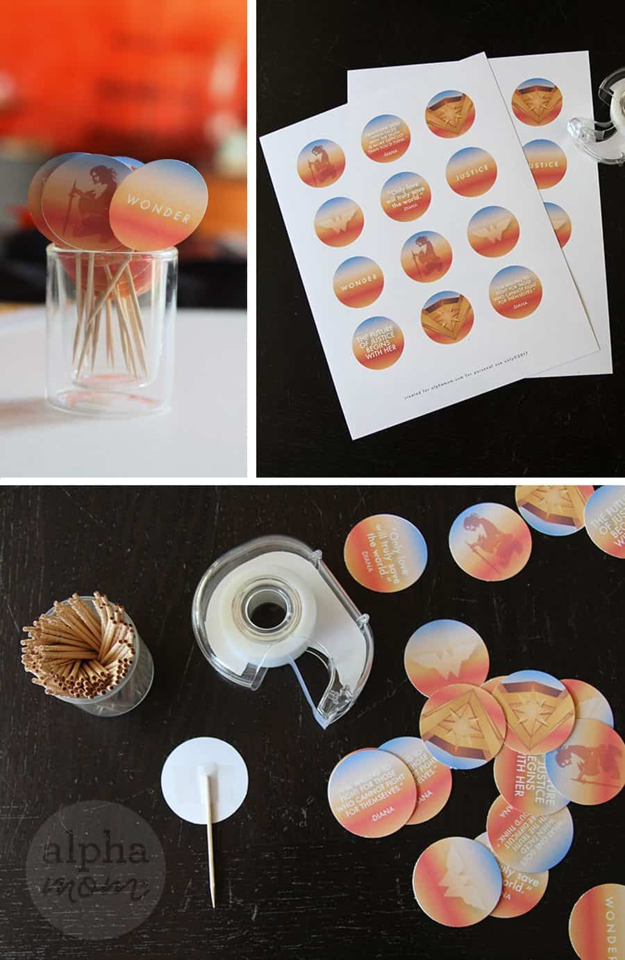 Wonder Woman Cupcake Toppers Printable! (supplies) by Brenda Ponnay for Alphamom.com