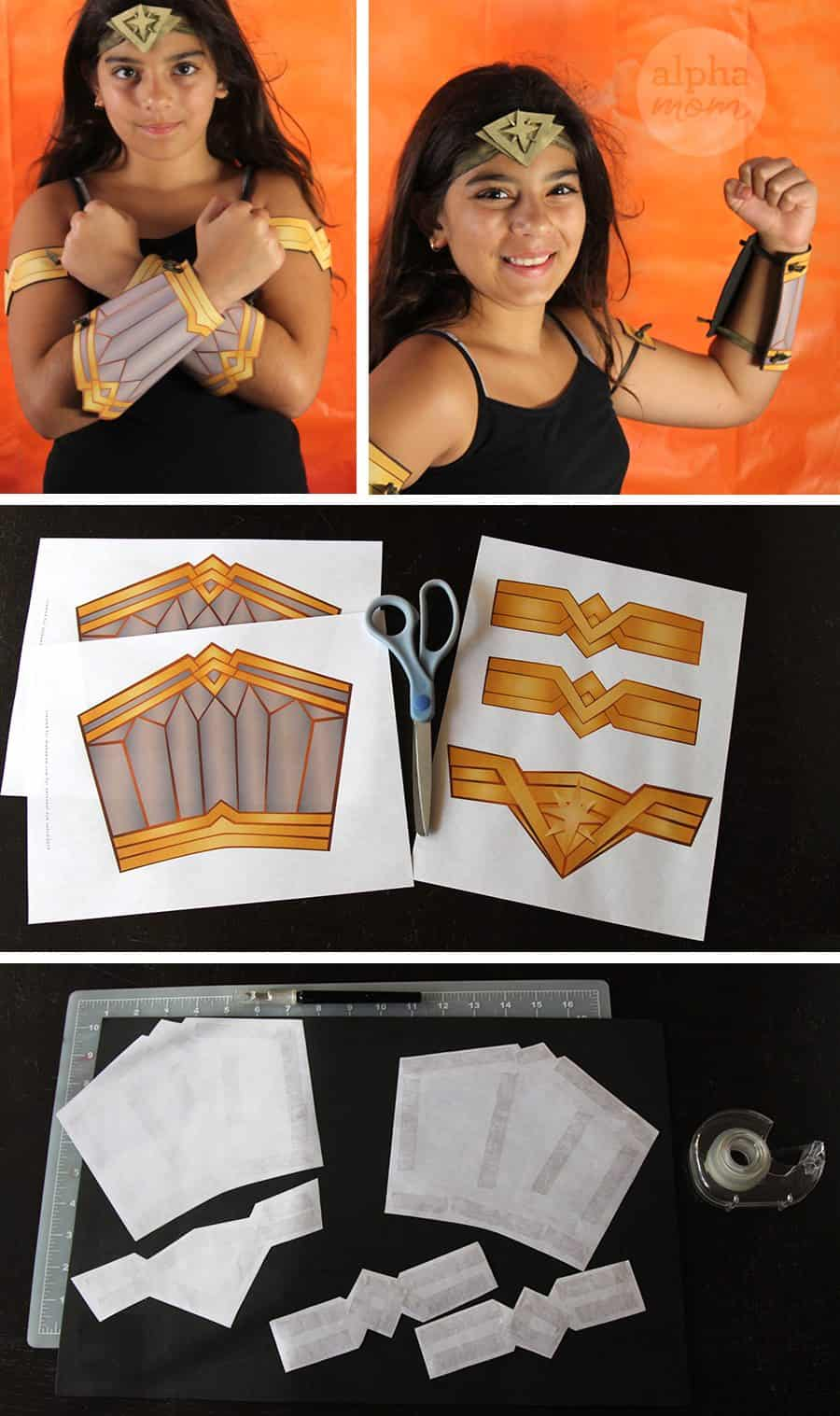 Wonder Woman Costume With Diy Headband Cuffs And Armbands Alpha Mom