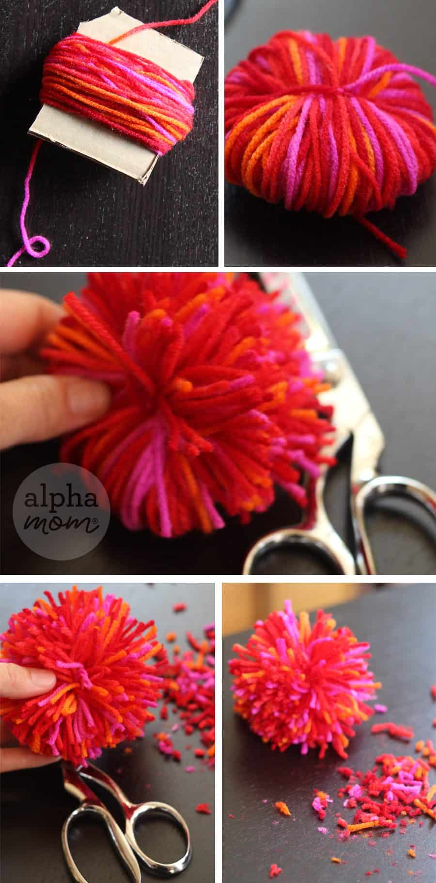 making pom poms out of yard and cardboard