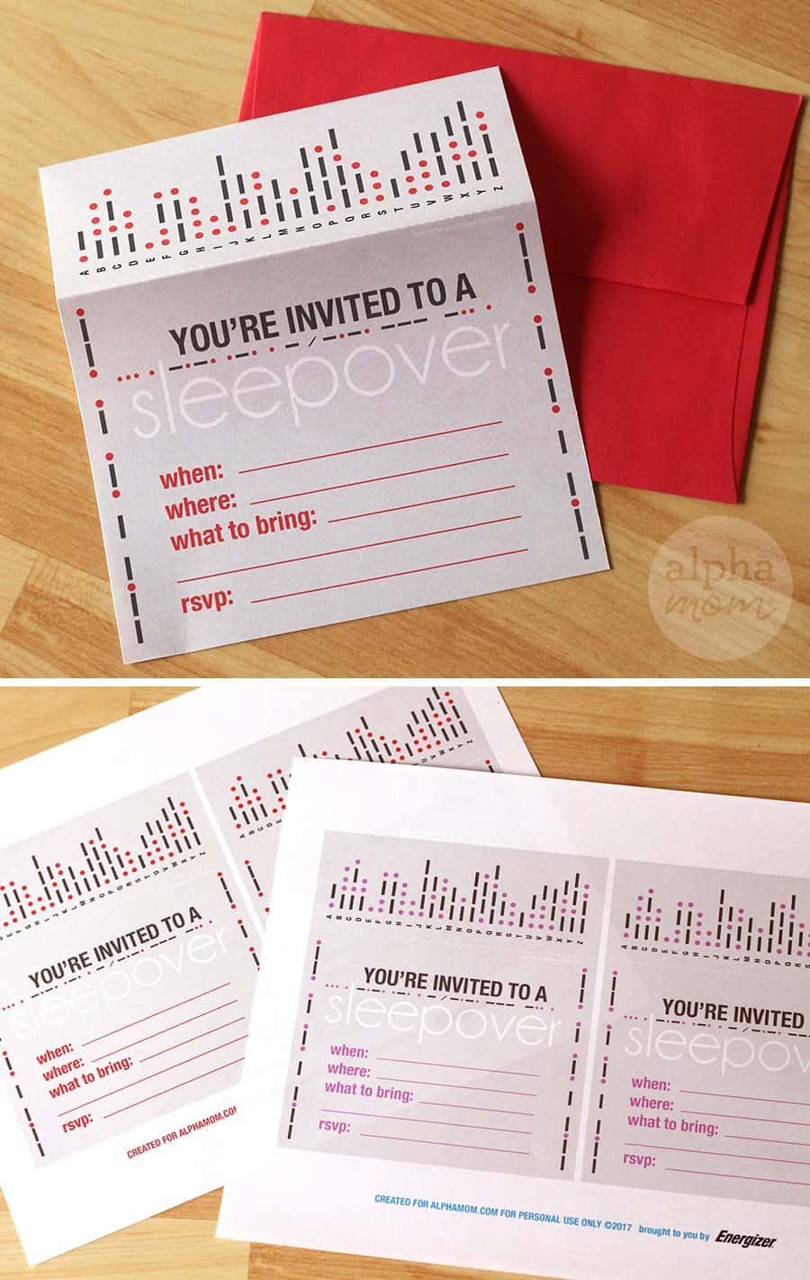 Morse Code Sleepover (invitations) by Brenda Ponnay for Alphamom.com