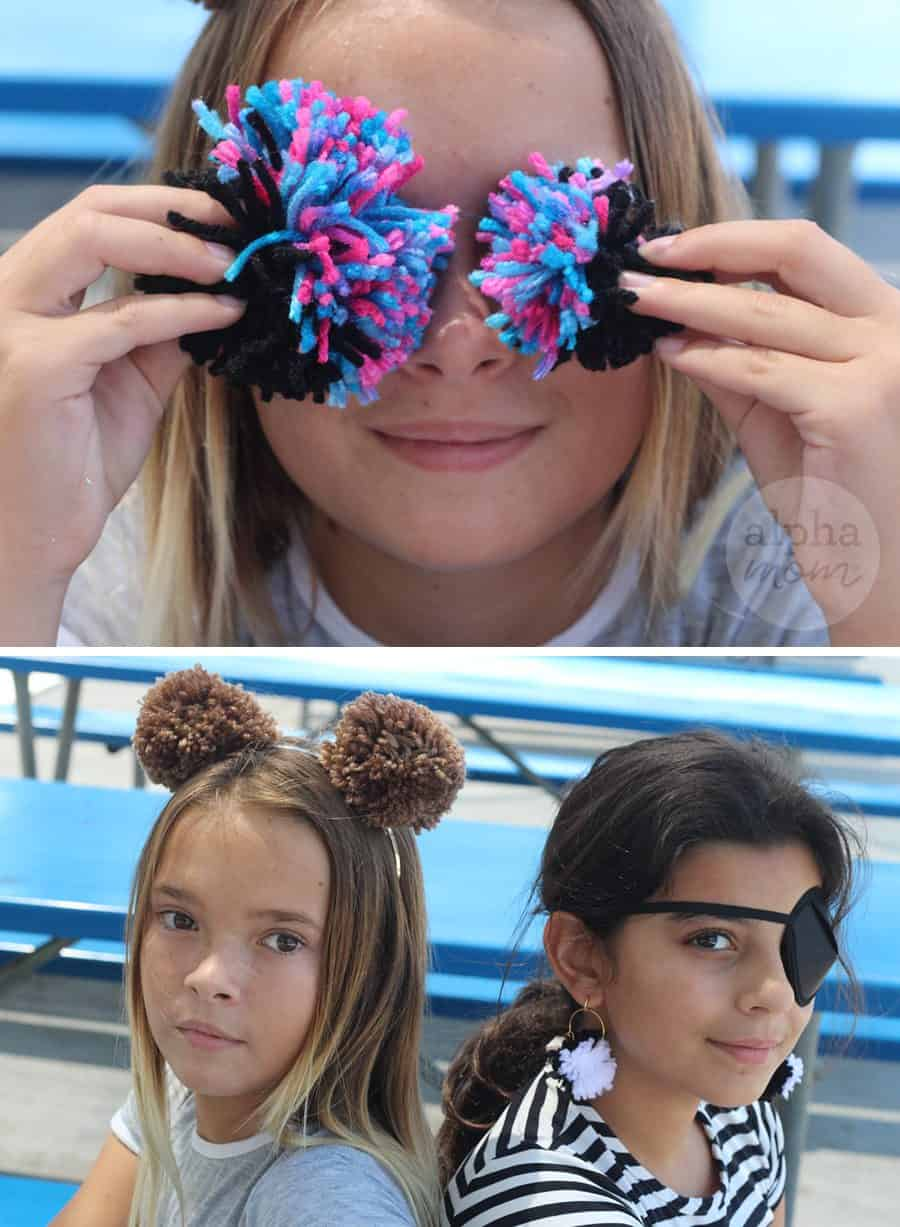 top photo: a girl holding two pom poms over her eyes. Bottom photo: two girls sitting back to back, one wearing pom poms in her hair, one wearing an eye patch