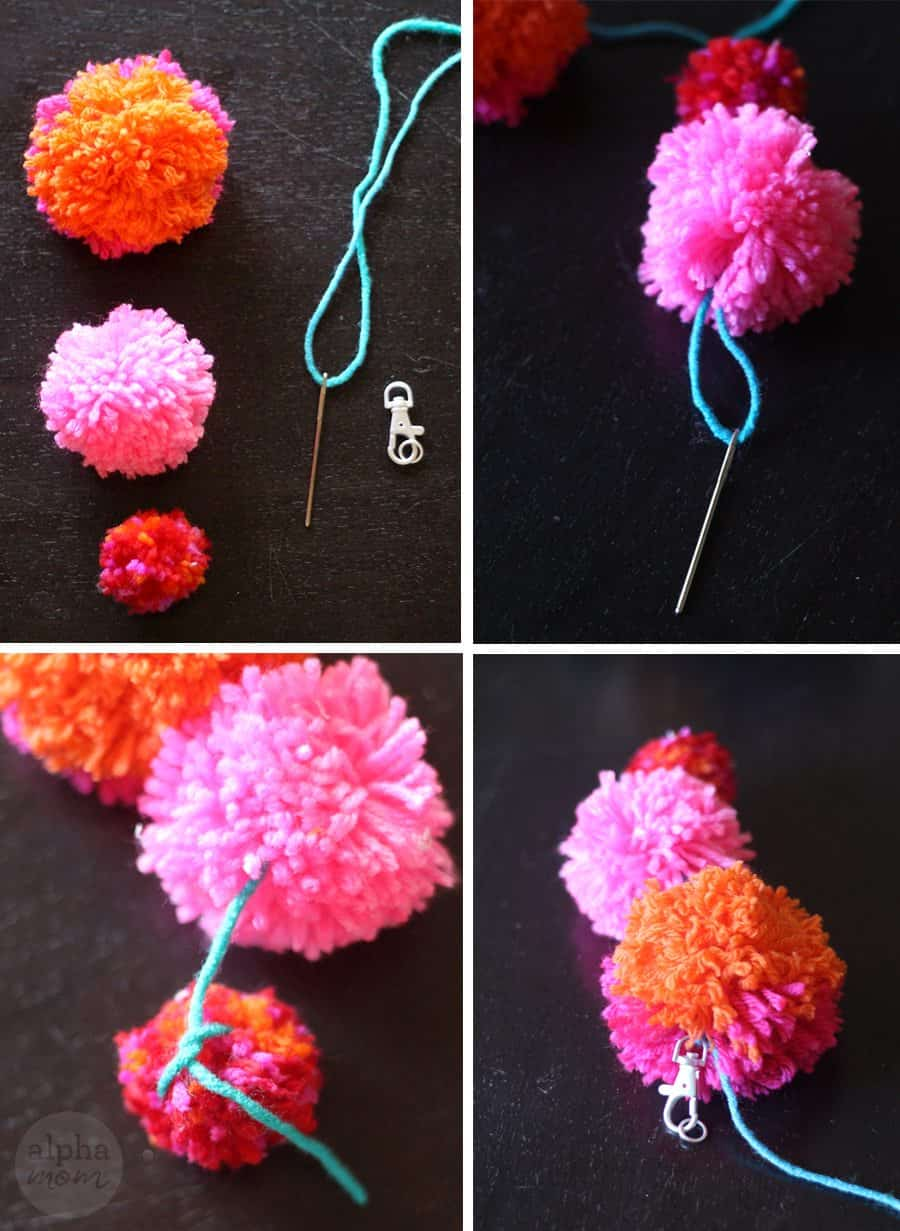 How to make yarn pom poms and fun crafts alpha mom for Crafts to make with pom poms