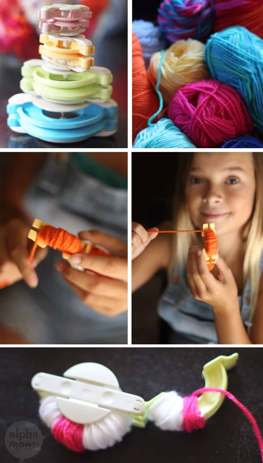 pom pom maker and rolls of different color yarn