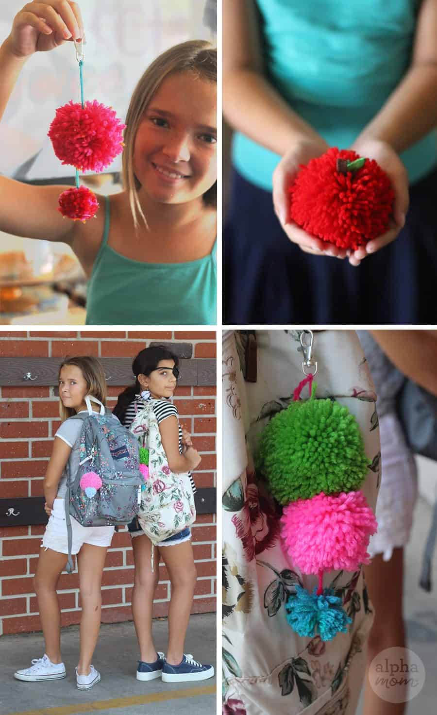 two girls showing off different pom pom crafts