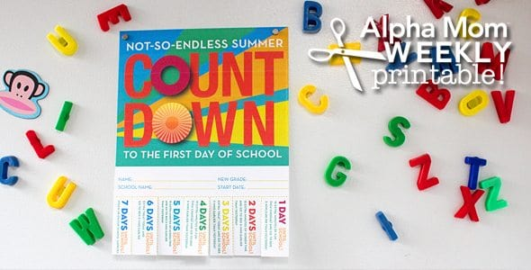 Back-To-School Countdown Poster Printable! for Brenda Ponnay for Alphamom.com