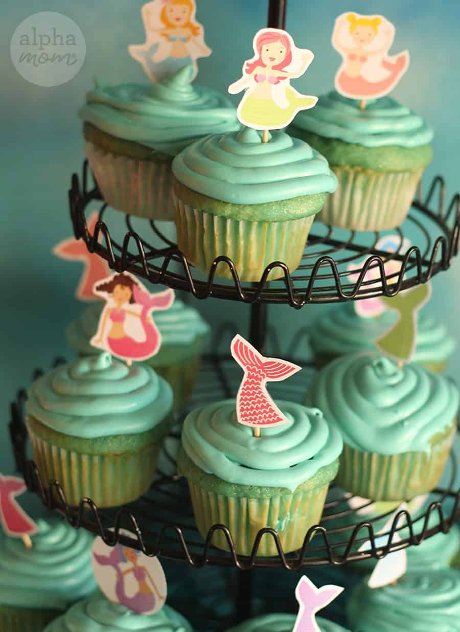 Mermaid Party: Cupcake Toppers by Brenda Ponnay for Alphamom.com
