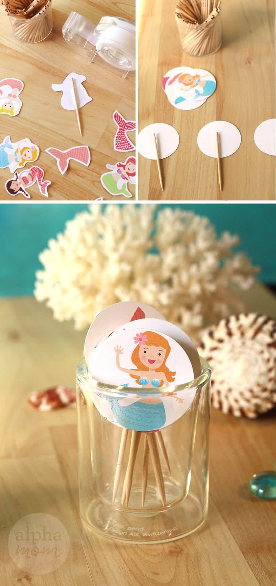 Mermaid Party: Cupcake Toppers (printable how-to) by Brenda Ponnay for Alphamom.com