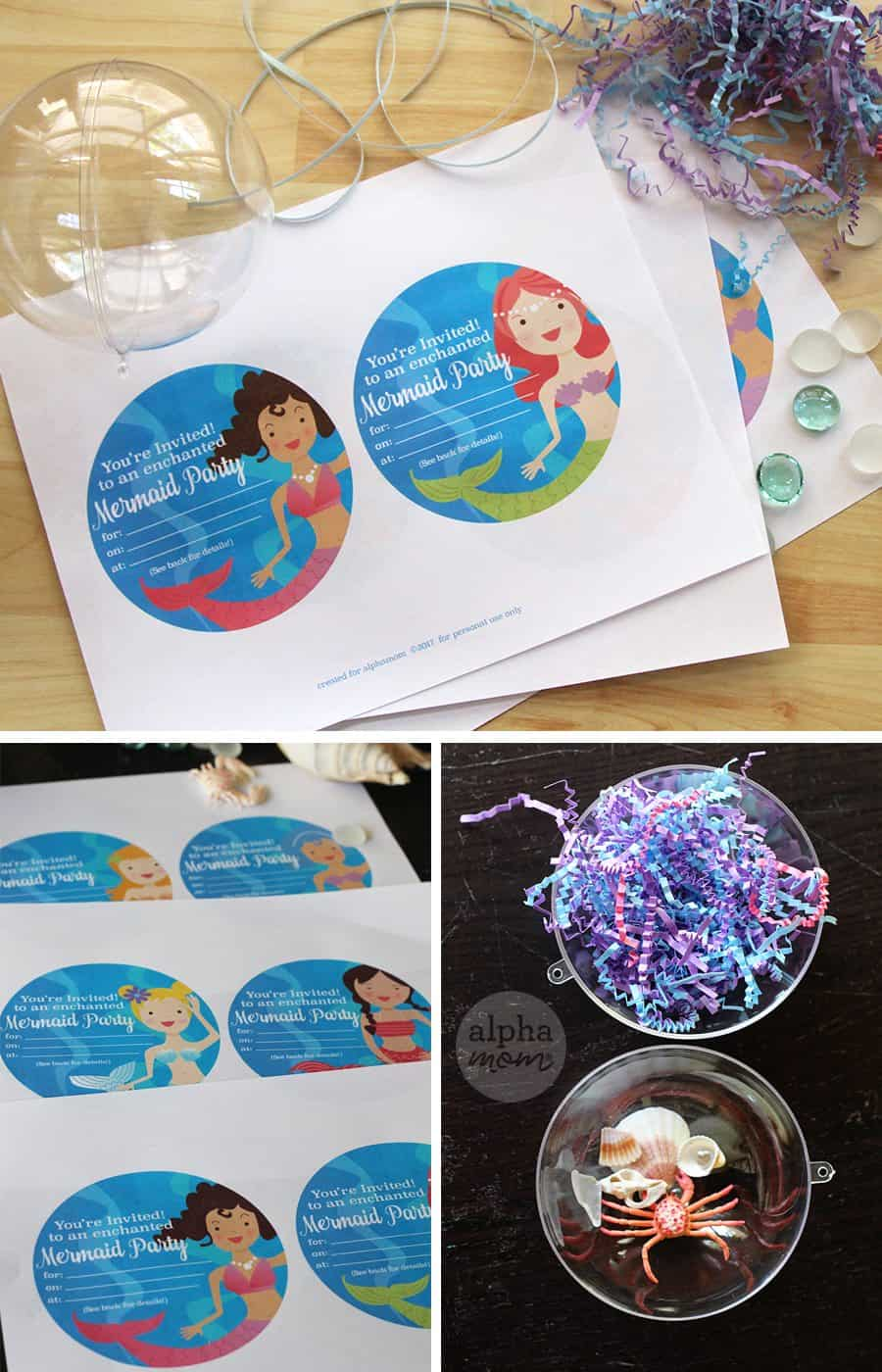 Mermaid Party Invitations DIY printable by Brenda Ponnay for Alphamom.com