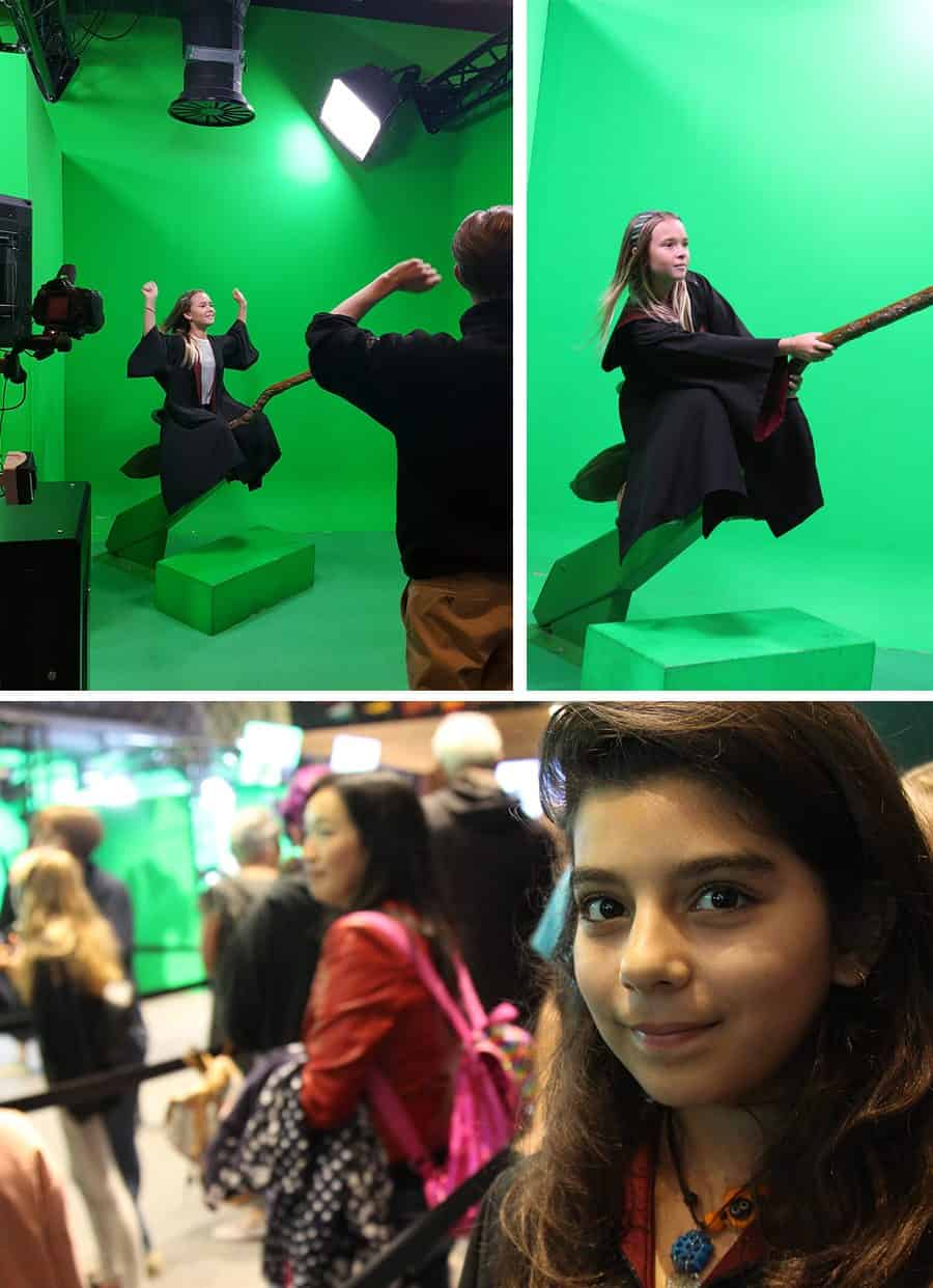 Studio Tour of the Making of Harry Potter Review (green screen flying) by Brenda Ponnay for Alphamom.com