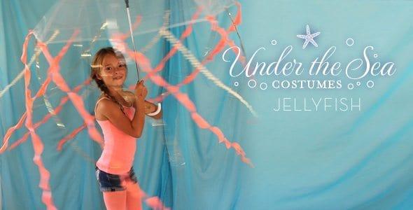 Young girl wearing diy jellyfish costume
