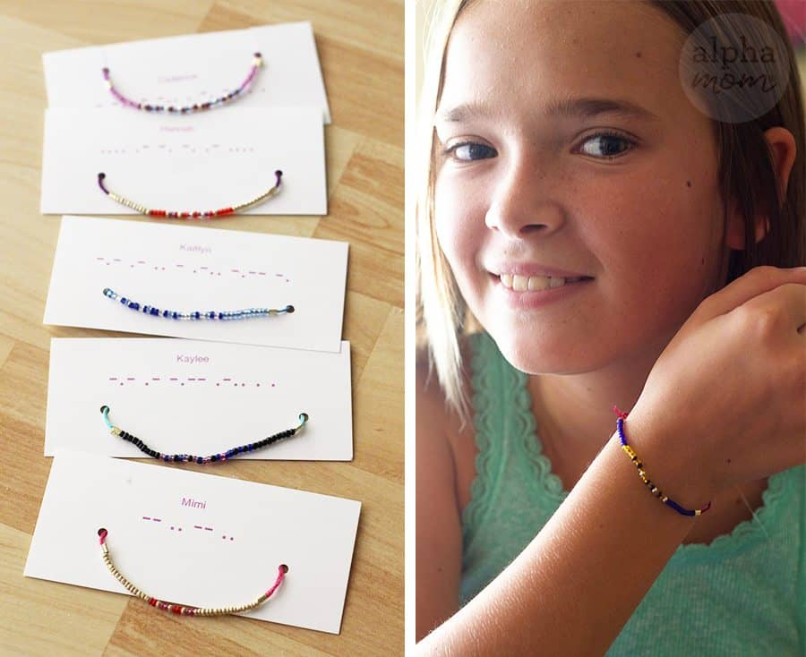 Morse Code Beaded Bracelets DIY (close-up) by Brenda Ponnay for Alphamom.com