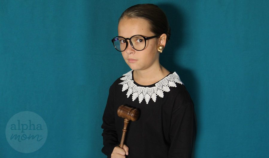Ruth Bader Ginsburg Child's Costume DIY (all you need is 5 items) by Brenda Ponnay for Alphamom.com
