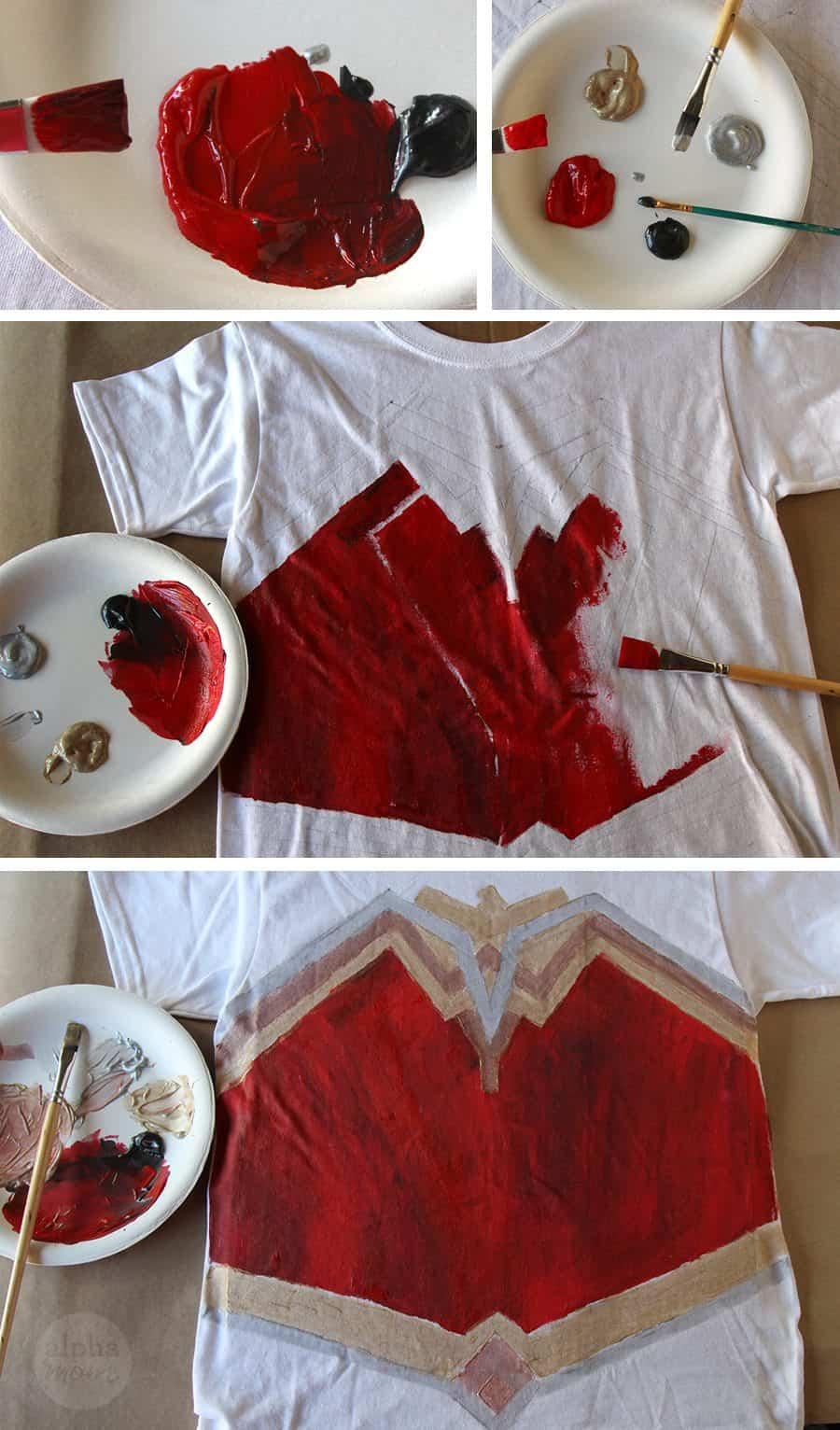 Wonder Woman DIY T-shirt Costume (painting) by Brenda Ponnay for Alphamom.com