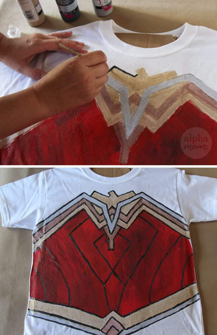 Wonder Woman DIY T-shirt Costume (how-to) by Brenda Ponnay for Alphamom.com