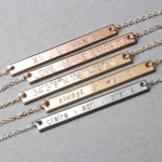 Etsy Custom Bar Necklace: Engrave a mantra — be smart, be strong, be kind — on this lovely bar necklace so she can carry with her every day. Add her name, initials or birth date on the reverse side, to make it extra special.