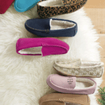 Lands' End Suede Moc Slippers: Keep her feet warm this winter with these bright slippers. Choose from seven colors and two patterns — and add a monogram to make them extra luxurious.