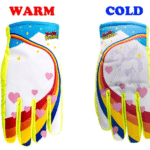 """Unicorn"" Freezy Freakies: These gloves are made with winter weather magic: When the outside get cold, a unicorn appears on them. Cool! (Note: Because these are adult gloves, order size XS for kids.)"