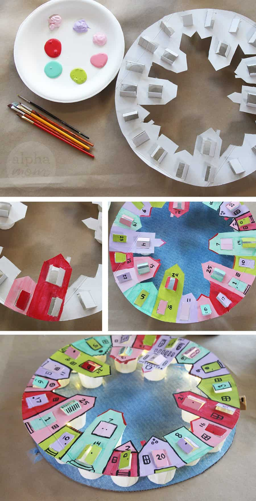 DIY Advent Calendar Wreath for Kids (painting) by Brenda Ponnay for Alpahmom.com