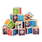 Super Nerdy ABC Blocks: These beautifully crafted retro-style blocks are decorated with math and science terms. Perfect for decorating the nursery.
