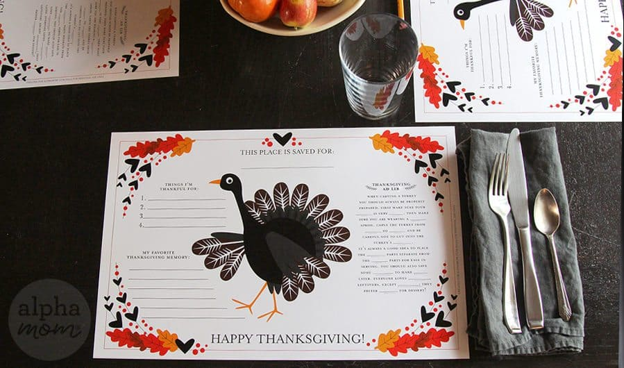 Thanksgiving Activity Placemat Printable by Brenda Ponnay for Alphamom.com