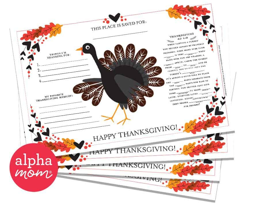 Thanksgiving Activity Placemat Printable (11x17 version)