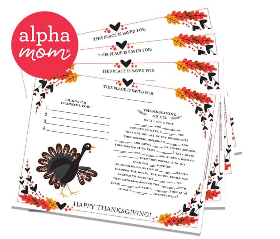 Thanksgiving Activity Placemat printables