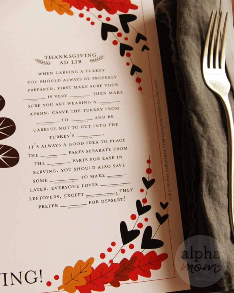 Thanksgiving Activity (with Fill-In-The-Blank Fun!) Placemat Printable