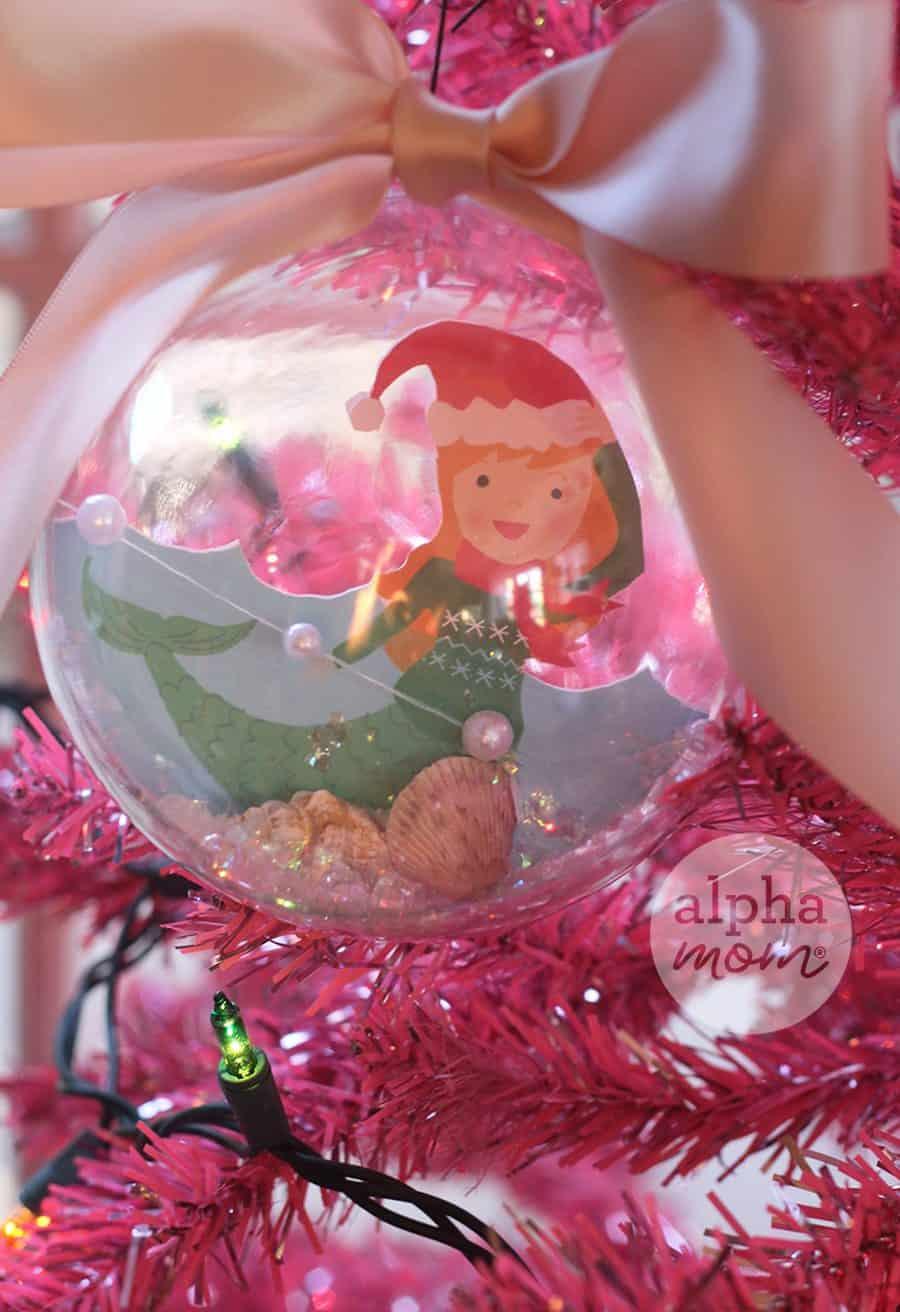 Close up of Christmas Ornament: Mermaid Snow Globe on Tree