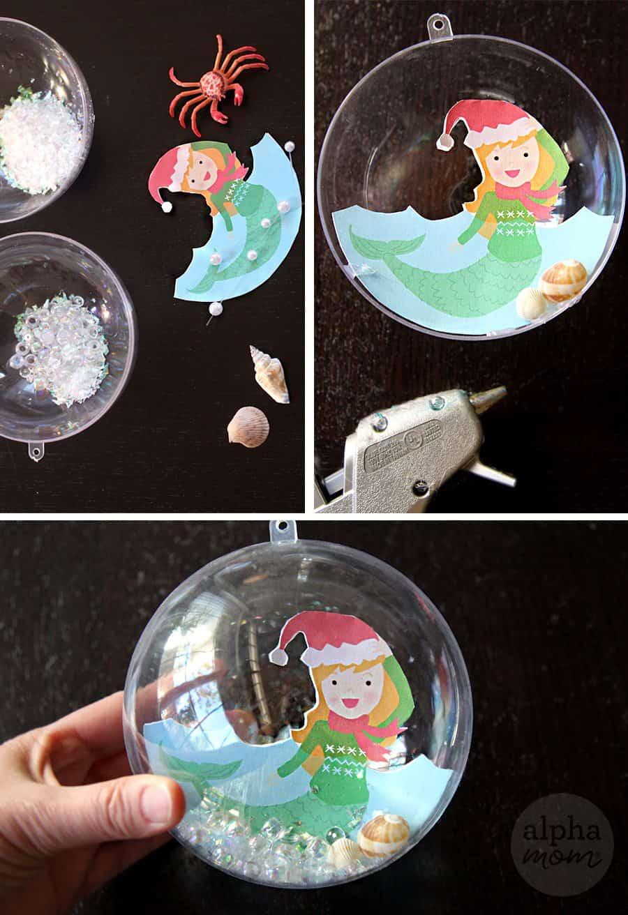 Christmas Ornament: Mermaid Snow Globe (tutorial) by Brenda Ponnay for Alphamom.com