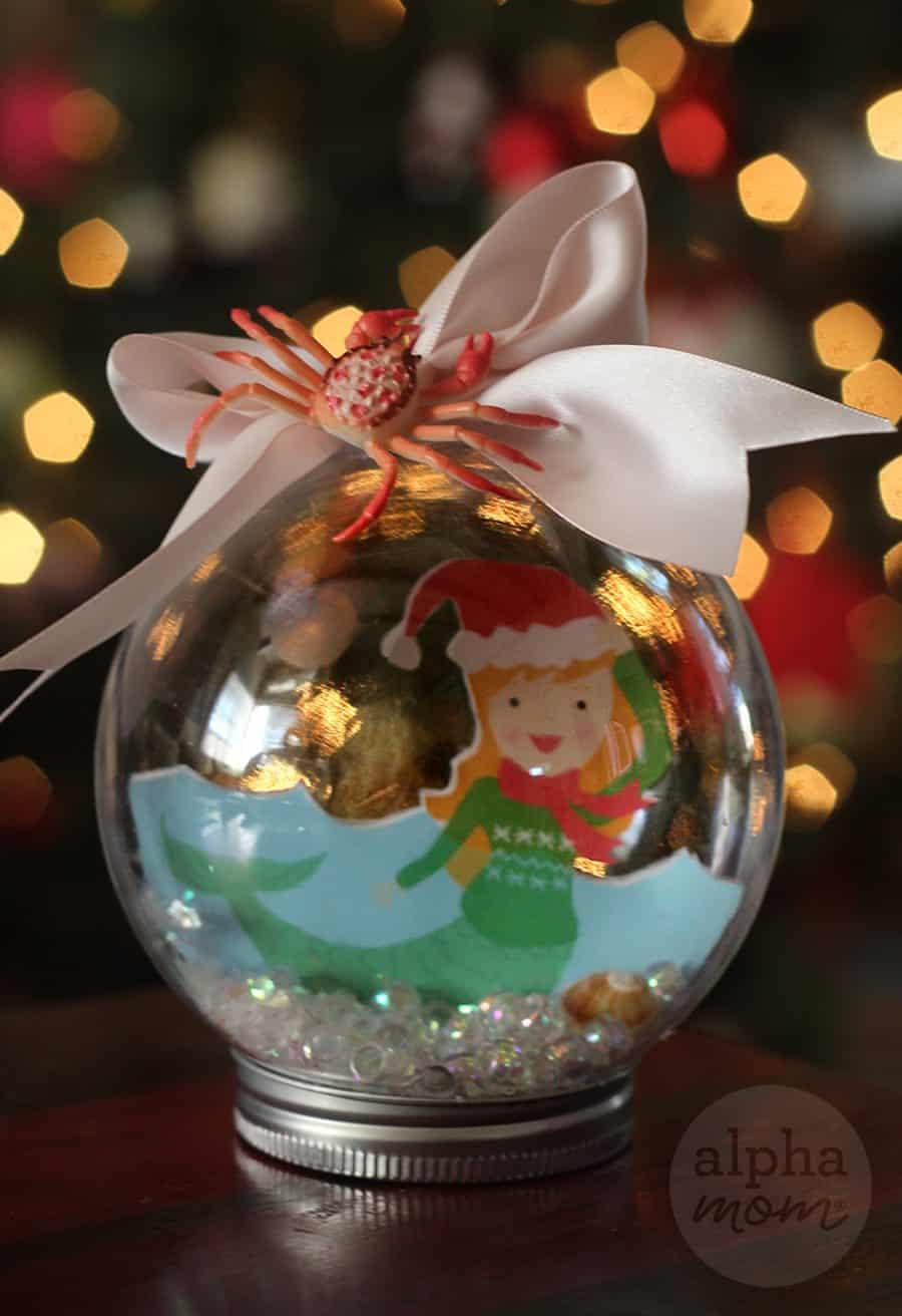 Mermaid Snow Globe Christmas Ornament by Brenda Ponnay for Alphamom.com