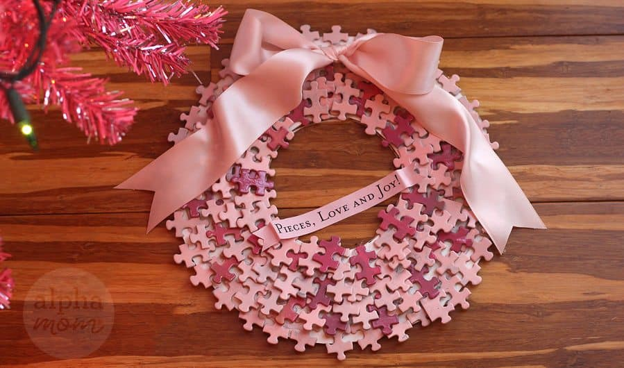 DIY Jigsaw Puzzle Wreath (or, how to bring new life to a puzzle with missing pieces) by Brenda Ponnay for Alphamom.com