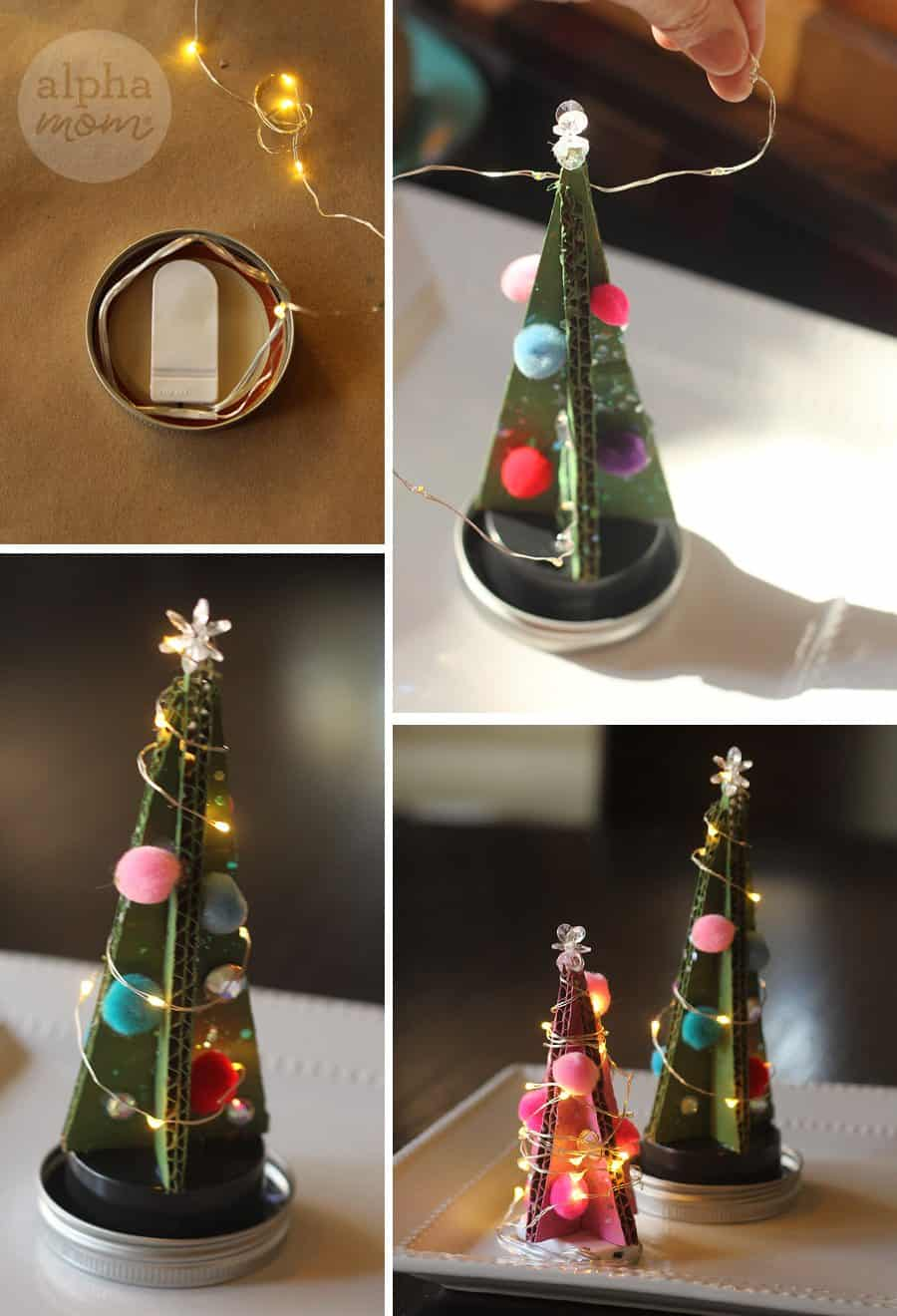 Tiny Cardboard Christmas Trees (add safe lights) by Brenda Ponnay for Alphamom.com