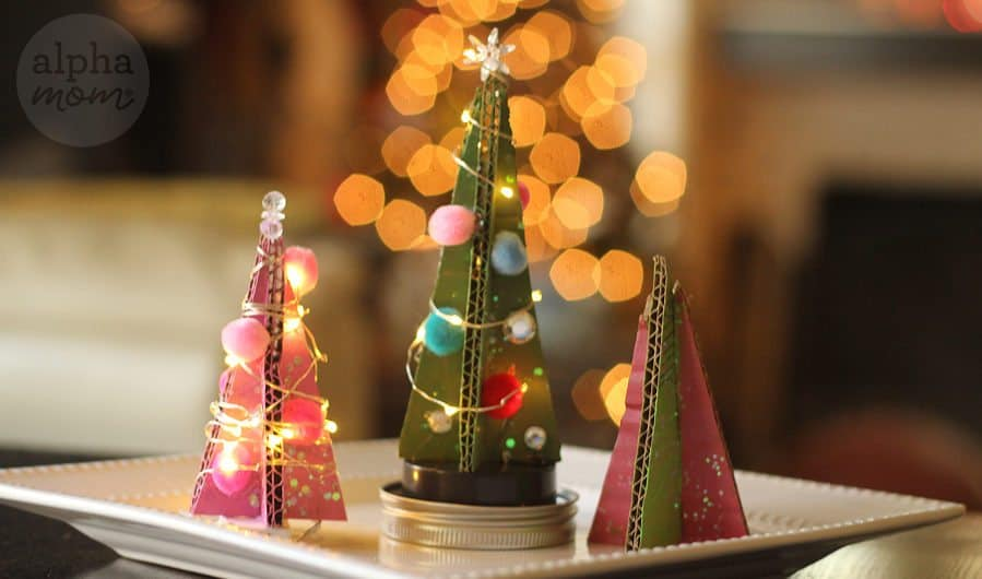 Tiny Cardboard Christmas Trees by Brenda Ponnay for Alphamom.com