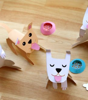 Paper Puppy Printable in honor of Year of the Dog (Chinese New Year) by Brenda Ponnay for Alphamom.com