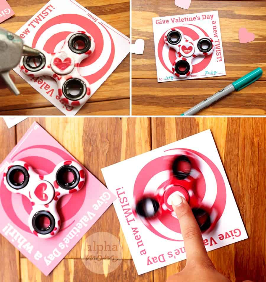 Fidget Spinner Classroom Valentines for Kids (cards) by Brenda Ponnay for Alphamom.com