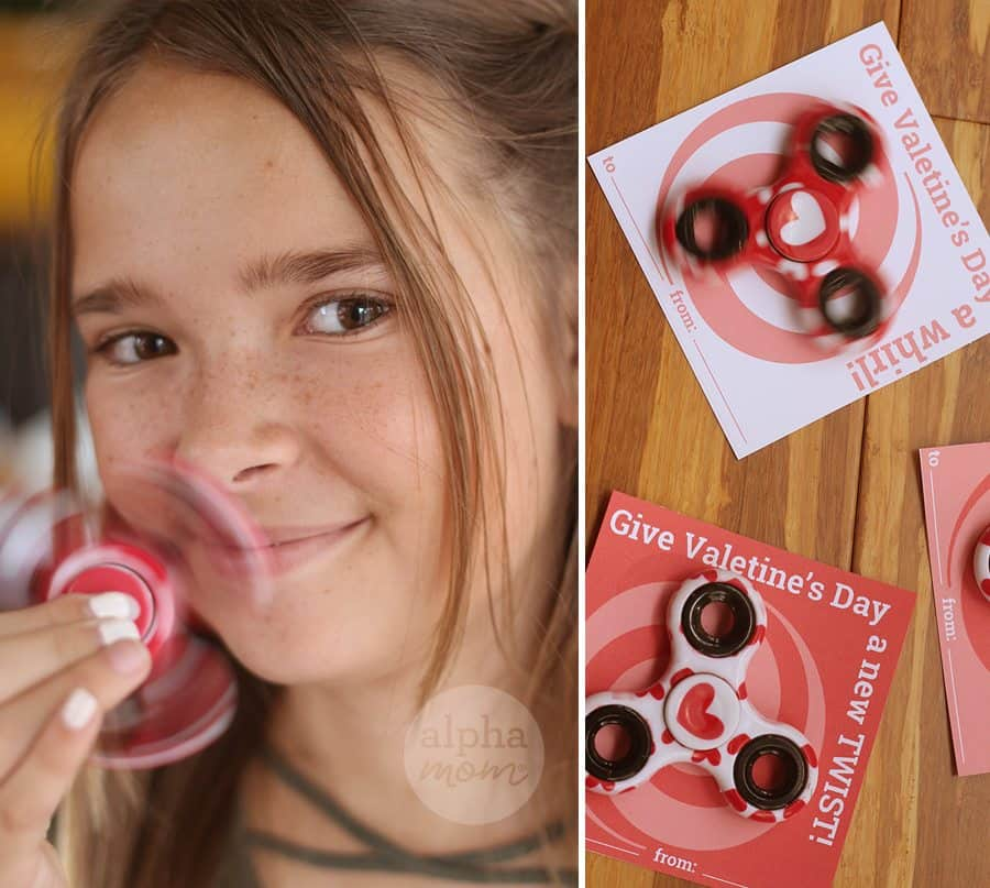 a new twist on valentine's day fidget spinner cards