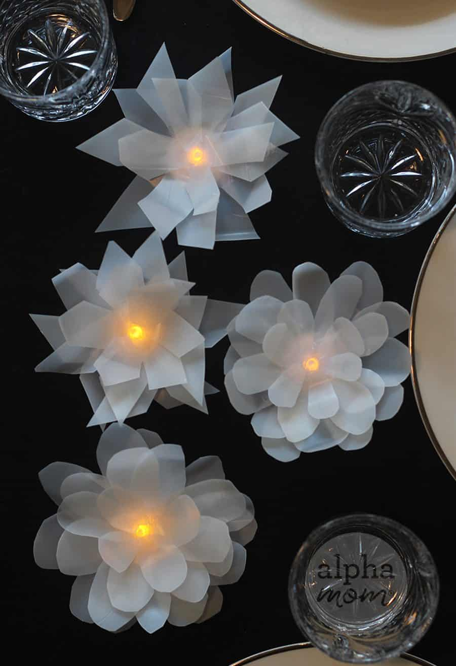 How to make Pretty Flower ( or Ice Shards) Tea Light Votives from Milk Carton by Brenda Ponnay for Alphamom.com