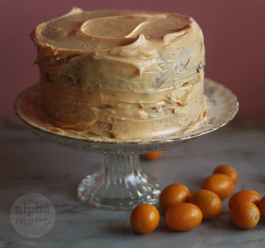 Candied Kumquat Citrus Cake Recipe (icing the cake) by Brenda Ponnay for Alphamom.com