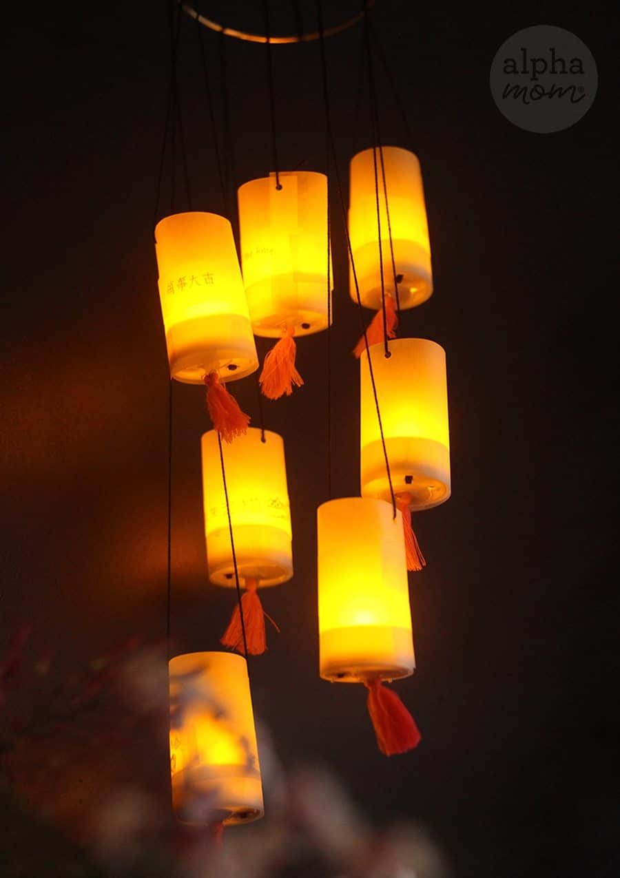 Rising Wishes Mobile to Celebrate the Chinese Lantern Festival (lit lanterns) by Brenda Ponnay for Alphamom.com