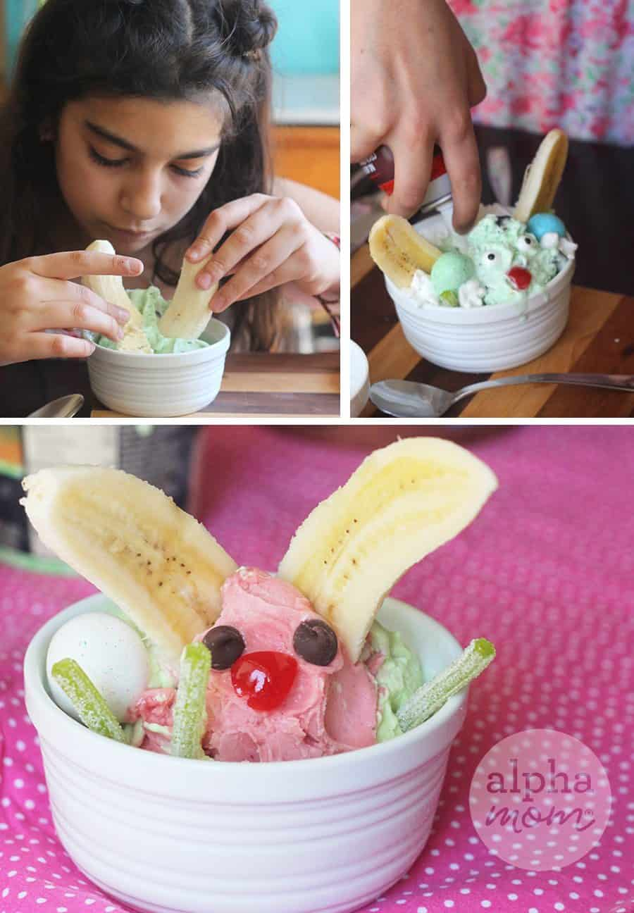 tutorial for making Easter ice cream sundaes