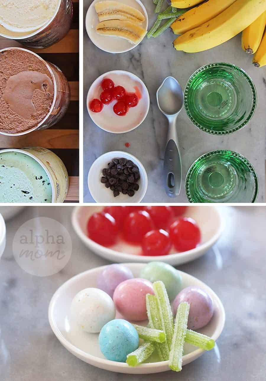 Easter Bunny Ice Cream Sundaes! (ingredients) by Brenda Ponnay for Alphamom.com