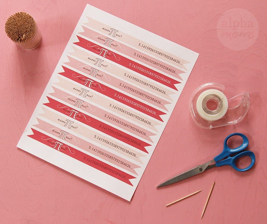Happy Pi Day Printable Flags! (supplies) by Brenda Ponnay for Alphamom.com