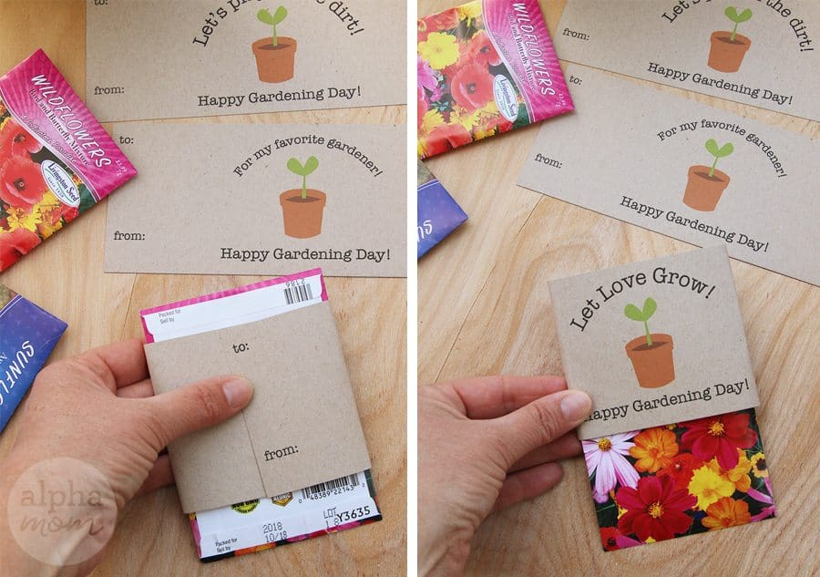 "Seed packets wrapped with ""Happy Gardening Day"" printables"