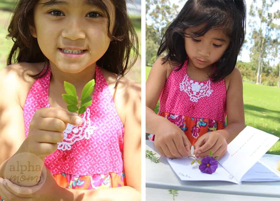 A child taping flowers to pages of a book