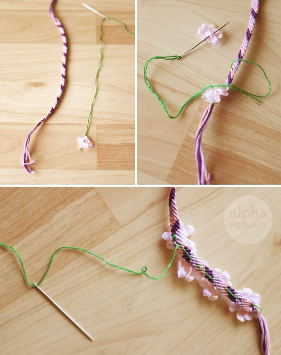 Flower Friendship Bracelets for Mom (sewing flowers) by Brenda Ponnay for Alphamom.com #friendshipbracelets #MothersDay #DIY #kidcrafts #craftsforkids