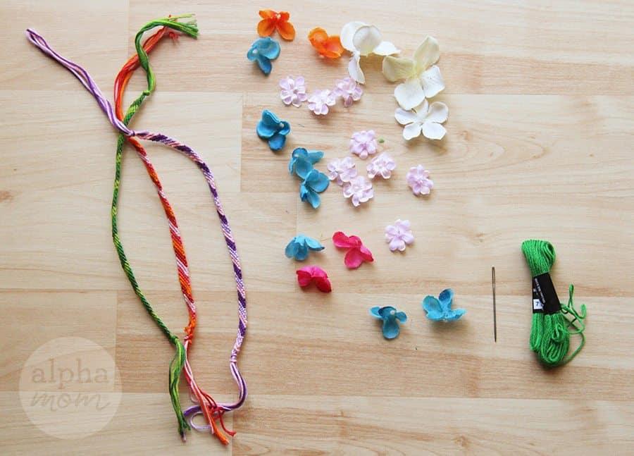 Flower Friendship Bracelets for Mom (supplies) by Brenda Ponnay for Alphamom.com #friendshipbracelets #MothersDay #DIY #kidcrafts #craftsforkids