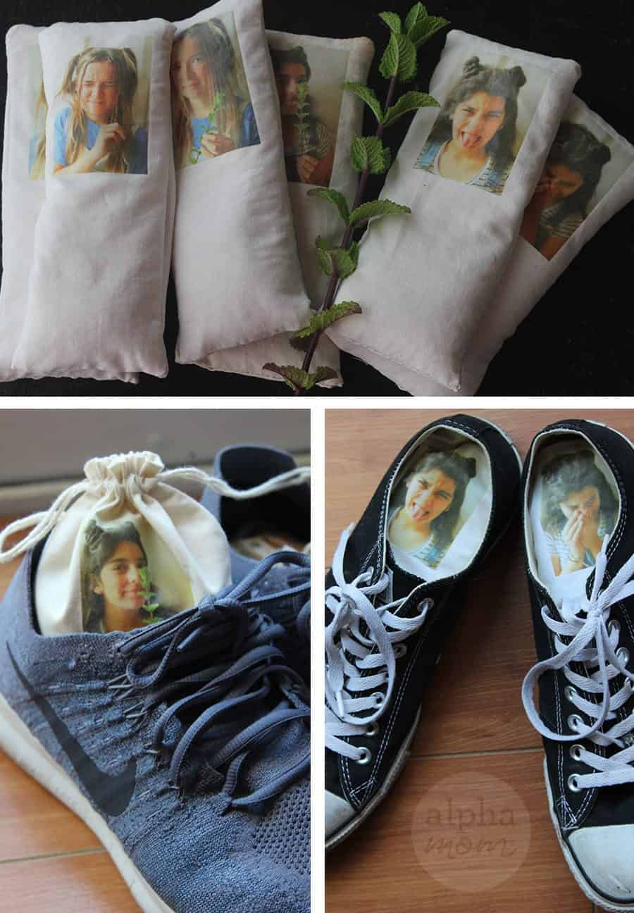 Funny Shoe Deodorizer Sachets inside pair of shoes