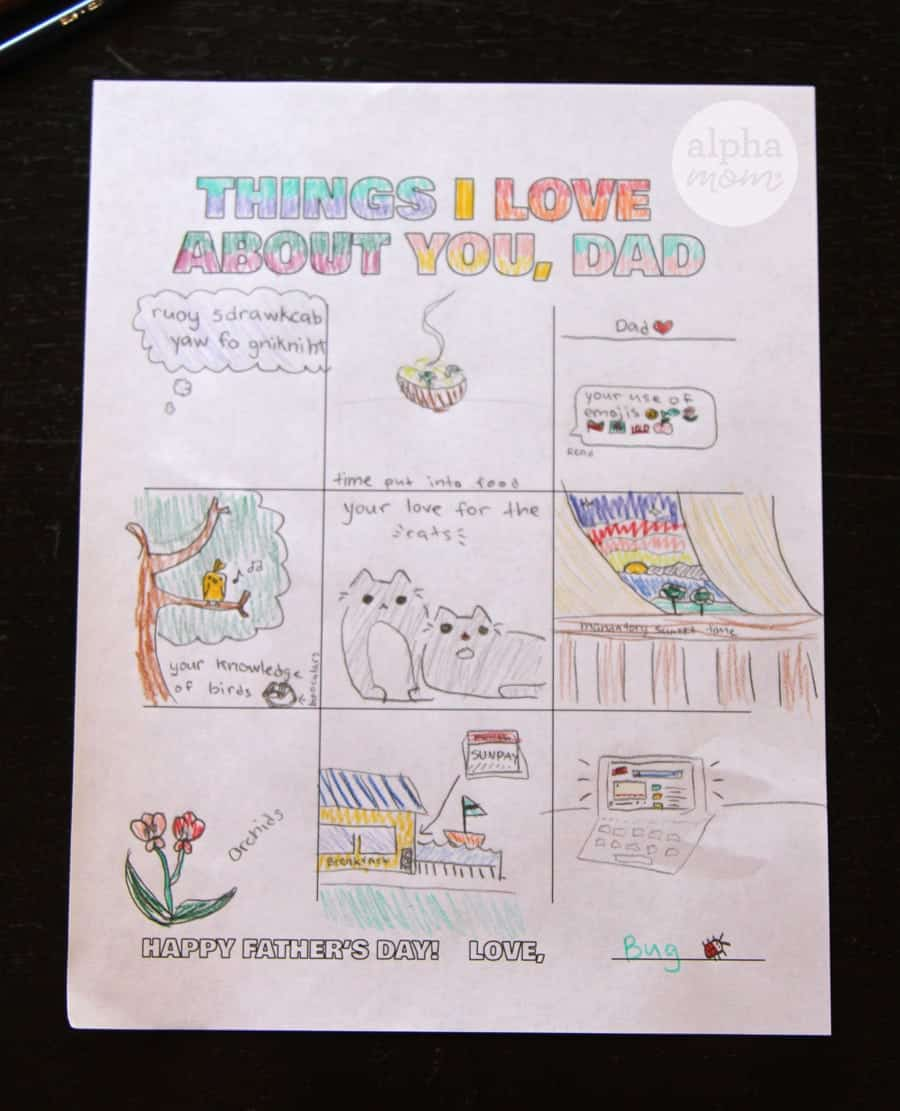 Illustration guide colored in by child for Father's Day
